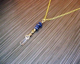 Brass wire/chain Lapis Lazuli NECKLACE