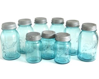 Ball Perfect Mason Blue Canning Jars Zinc Lid Pint Quart Mason Jar Lot