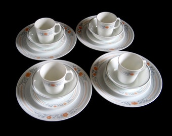 Corelle Dinnerware Corningware Dish Set Apricot Grove Complete 16 pc Service for 4 Peach, Blue Gray, White