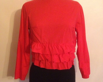 Vintage 1960s bright cherry red ruffled Ann Margret crop top