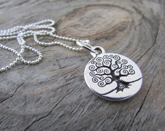 Tree Necklace, simple pewter, silver, stamped tree pendant