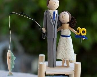 Cake Topper- Handmade Keepsake Wedding Topper- custom made wood bride and groom with fishing scene