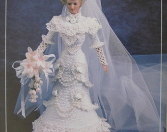 Annie's Attic Crochet Bed Doll Pattern Bride Gown 1996 Edwardian Collection Barbie Doll Dress