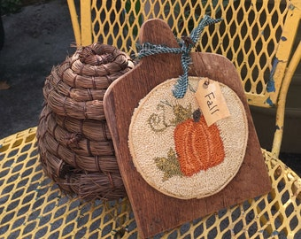 Fall Pumpkin Punch needle Barnwood Board Shelf Tuck