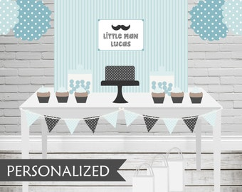 Printable Little Man Backdrop - 3x4 ft. Personalized Printable Party Poster for Little Man Themed Parties .. mp01
