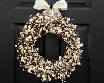 Everyday Wreath -  Berry Wreath - All Season Wreath - Door Wreath - Choose Ribbon and Size-Mother's Day Gift