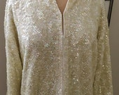 SALE Vintage Creme Glitz Sequins Wool Cardigan WAS 90.00