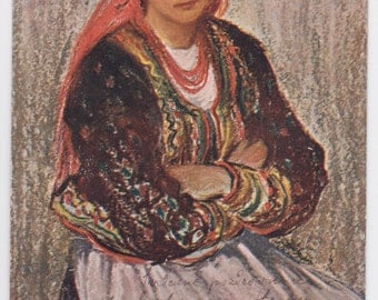 "Written on (!) Antique Polish Postcard -- H. Uzziemblo ""Country Girl"" -- 1900? Condition 9/10"
