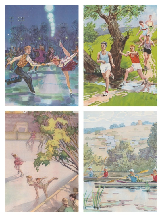 Sport. Set of 4 Vintage Book Pages from Soviet Children's Encyclopedia -- 1962