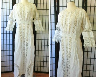 Antique Edwardian Dress 1900s 1910 Vintage Maxi Ivory Off White Floral Crochet 40 41 L XL Long Romantic Floor Length