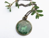 DEER NECKLACE   Handmade Art Jewelry   Fawn in the Meadow Deer Illustration   Woodland Emerald Forest Green Necklace