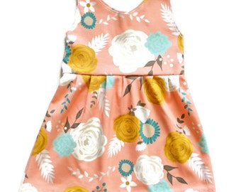Tank Dress Blush Floral - Baby Dress - Toddler Dress - Pink Baby Dress - Floral Baby Dress - Floral Toddler Dress -Summer Baby Dress-Apparel