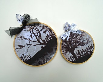 SALE~Halloween Hoop Art Cemetary Silhouettes / Set / Halloween Decor / Fall Decor / Wall Art / Cat On A Fence / Ravens In A Tree / Spooky