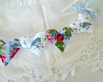 Blue Birds Heart Garland / Pillow Heart Garland / String Hearts / Birds And Roses / Valentine Heart Garland / Bird Heart Banner /Bird Pillow