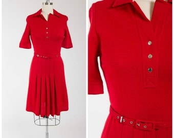 Vintage 1960s Dress • Cherry Apple • Red Wool 60s Day Dress with Pleated Skirt Size Medium