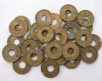 Antique Lot of 13 Brass Slot Machine Mint/Candy Trade Tokens - 5 Cent Merchant Trade Tokens - Trade Stimulator Tokens