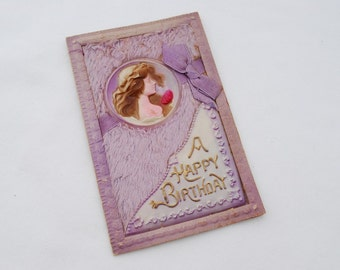 """Antique 1900's 3D Celluloid """"Happy Birthday"""" Post Card - Victorian Woman - Lavender Puffy Plush Fur Fiber - Cabinet Display Card"""