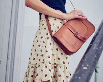 vintage 70s tan leather satchel