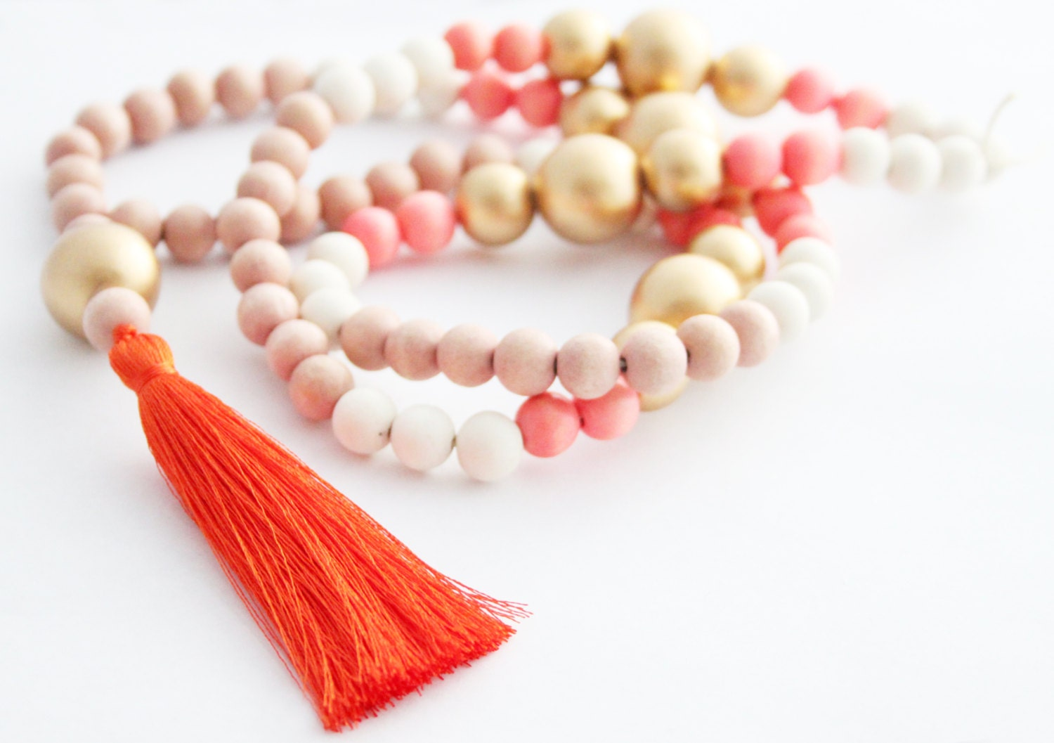 Tassel Necklace, Coral Orange and Gold Beaded Tassel Necklace, Colorful Statement Necklace, Wood Bead Tassel Necklace, Tassel Jewelry