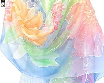 Hand Painted Silk Shawl, Spring chiffon shawl, Wedding Shawl, Rainbow Wildflower Meadow Scarf, Takuyo, 22x90 inches Made to order