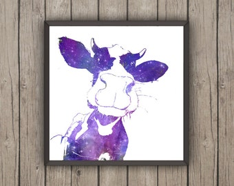 The Cosmic Cow - Digital Print - Instant Download Art - painting for christmas - digital poster - gift for him - animal print
