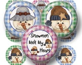 Snowman, Instant Download, Bottle Cap Images, 1 inch Circle, Digital Collage Sheet, Snowmen Melt My Heart, Pendants,  Cupcake Toppers, No.2