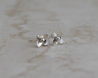 Flower stud earrings- sterling silver flower earrings- bridesmaid earrings- bridesmaid gift-  blossom earrings- dainty earrings