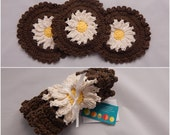 Crochet Dishcloth Gift Set – Includes Gift Card – Flower - Yellow, Beige and Brown