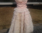 Reserved for Ashlyn. Fab 50s Cupcake Pink Prom Dress Tiered Lace and Taffeta as is for Wear or Costume STUNNING XS SM Strapless Sweetheart