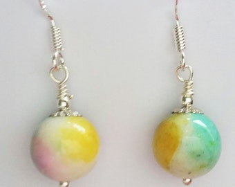 Multicoloured jade drop earrings with sterling silver hooks