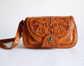 Vintage 1960s Floral Embossed Leather Should Bag Satchel Messenger Bag