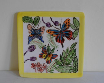 """Hand Painted Butterfly Trinket Dish - 7"""" x 7"""""""