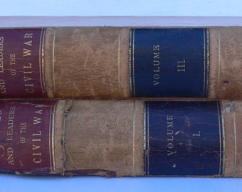 Antique Civil War books, 2 volumes, leather spines, The Century Magazine, book decor, 1887, free shipping,from Diz Has Neat Stuff