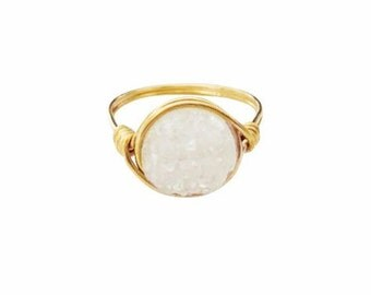 Sugar White Druzy Statement Ring