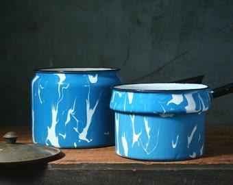 Vintage graniteware double boiler, marble graniteware