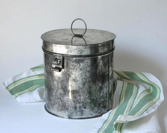 Vintage Tin canister, hand crafted flour tin, tin container