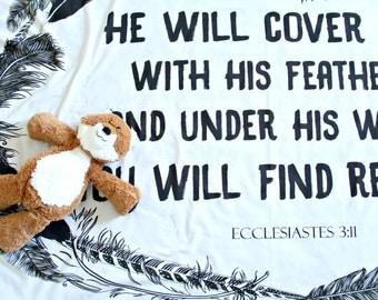 He Will Cover you with His Wings, Baby Scripture Blanket, Swaddle jersey, Lightweight, Crib Sheet Bible verse, Life verse, feathers bohemian
