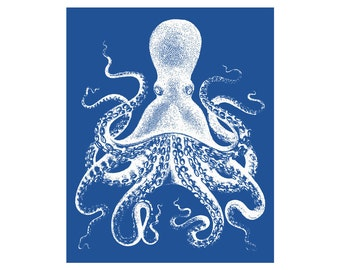 Octopus Blue and White Nautical Vintage Style Art Print Beach House Decor