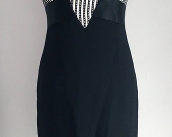 Vintage Victor Costa Size 6-8 Strapless Black Cocktail Dress with Rhinestones 1980's