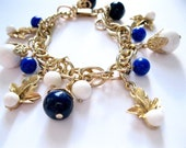 Gold Charm Bracelet Blue White Beads Kitschy 1950's Costume Jewelry