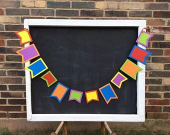Rainbows Layered Flag-Duo 4ft Garland: Rainbow Birthday Party Decor, Circus Birthday Party, Carnival Decor, Flag Garland, Paint Party Decor