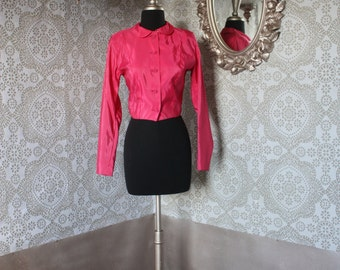 Vintage 1940's Party Lines by Emma Domb Hot Pink Taffeta Cropped Bolero XS