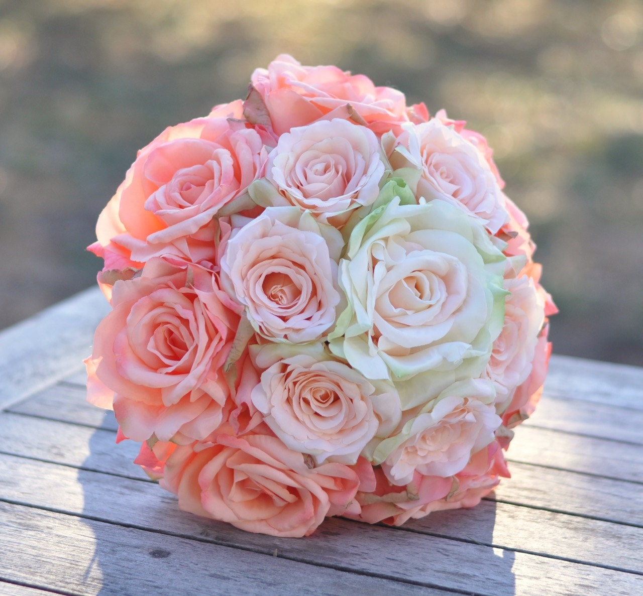 Peach Rose Ombre Wedding Bouquet Coral