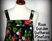 "Pinafore Apron ""no tie apron"", Loose Fitting Smock Apron -Rose Garden -all day apron - made to order in 3 sizes"