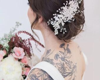 Silver crystal Bridal Headpiece, Wedding Hair Accessory, Pearl and Crystal Bridal Hair Piece, Silver Crystal beaded head piece, Wedding Hair