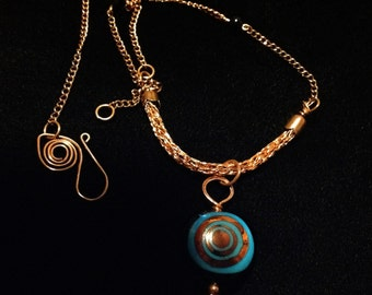 COPPER hand blown glass blue and copper pendent  viking knit