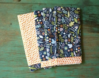 Navy Botanical Reversible Napkins, Set of 4, Eco Friendly, Reversible Napkin Set, Orange Ink Dot Napkins