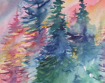 Landscape Painting Original Watercolor  Painting  Trees  Sunrise in New England Nature  CarlottasArt