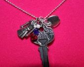 Sherlock Holmes Inspired Key 221B Charm Necklace London Detective Coat Apple