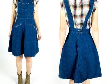 Vintage 1970s Denim Overall Dress Jumper Pinafore Dungarees Frayed Pockets Size XS Extra Small S Small